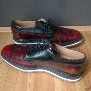 Prada Shoes - PRADA Men's Wing Tip Platform 3 tone Spazzalato